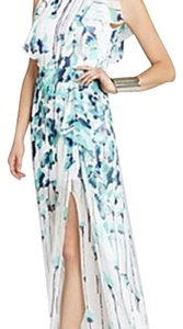 White with green and navy Maxi Dress by BCBGMAXAZRIA