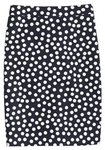 J.Crew Polka Dot Pencil Summer Skirt Navy blue