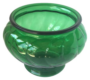 Vintage 1970's Retro Emerald Green Napco Glass Vase Planter Decor