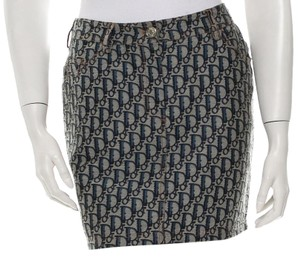 Dior Denim Silver Hardware Monogram Diorissimo Logo Skirt Blue, White