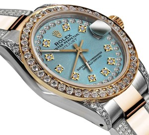 Rolex Ladies Oyster Perpetual Datejust 26mm Custom Diamonds Dial Ice Blue