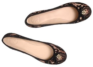Tory Burch Nude satin with black lace Flats