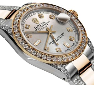 Rolex Ladies 26mm Oyster Perpetual Datejust Custom Diamond Silver Dial