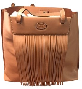 Tod's Leather Fringe Shopping Tote in Tan