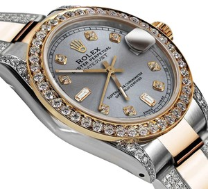 Rolex Ladies 26mm Oyster Perpetual Datejust Custom Diamonds Slate Grey Dial