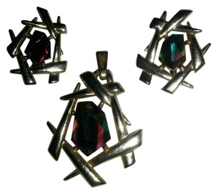 Sarah Coventry Stunning & Rare Vintage Sarah coventry pendant & Clip Earrings Rainbow crystal