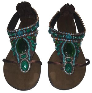 Gunmetal Thong Dressy Jade Brown Satin with Green Jeweled detailed Sandals