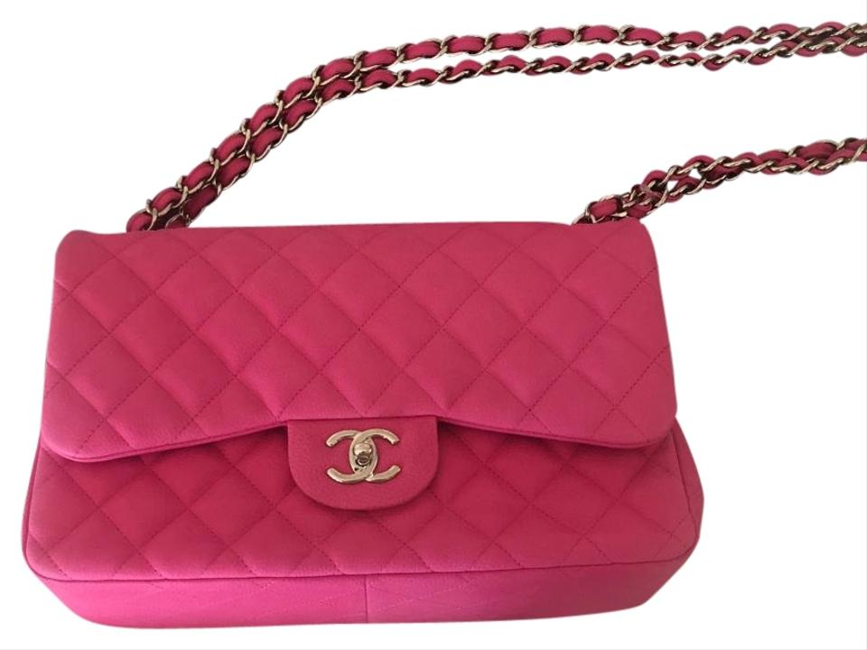 11c1b362525e Chanel Classic Double Flap Hot Pink Matte Caviar Leather Shoulder ...