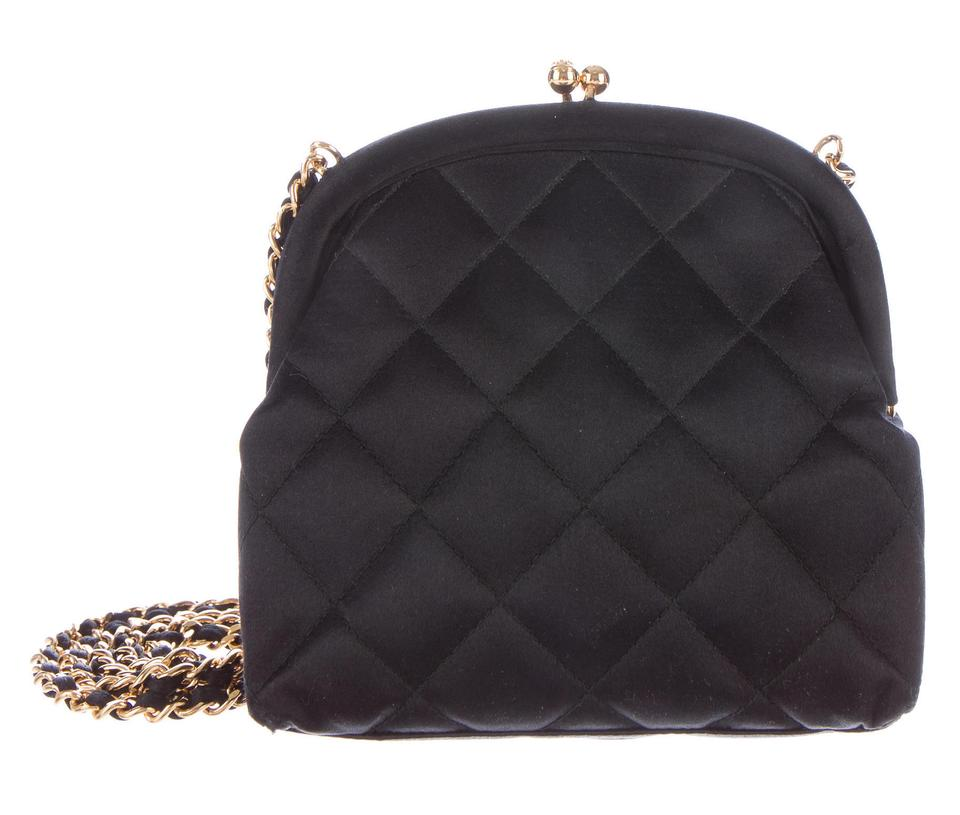 f0f602a14859 Chanel Classic Flap Evening Clutch Kisslock Mini Frame Quilted Silk ...