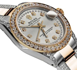 Rolex Ladies 26mm Oyster Perpetual Datejust Custom Silver String Diamonds