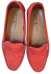 Mercanti Fiorentini Suede Contrast Loafer Driving Red Flats