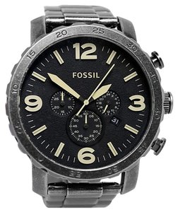 Fossil Fossil Men's Nate Burnished Gunmetal Stainless Steel Chronograph Watch JR1388