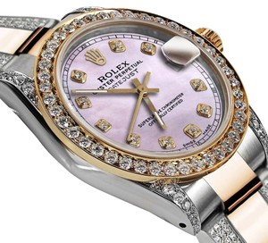 Rolex Ladies 26mm Oyster Perpetual Datejust Custom Pink Diamonds Dial Accent