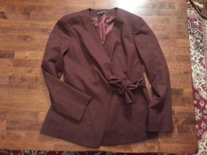 Lafayette 148 New York Wrap Wool Burgundy Blazer