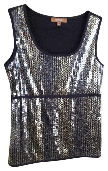Ellen Tracy Sleeveless Top Brown with Gold Sequins