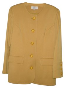 Badgley Mischka Princess Seams Button Detailing Gold Blazer
