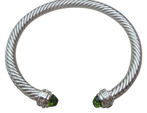 David Yurman 5 mm Cable Classics Bracelet With Peridot and paved Diamonds