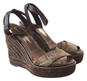Jean-Michel Cazabat Brown and Black Python print Wedges