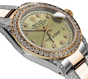 Rolex Ladies 26mm Oyster Perpetual Datejust Champagne Color String Diamond