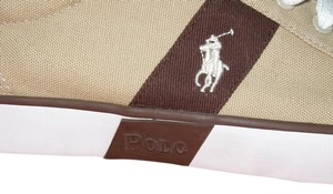 Ralph Lauren Canvas White Pony On Brown Tan Athletic