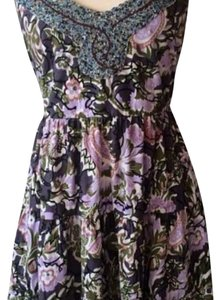 Free People short dress Black, purple and green on Tradesy