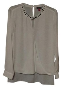 Vince Camuto Top White with black crystal accents