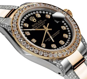 Rolex Ladies 26mm Oyster Perpetual Datejust Custom Black String Diamond Dial
