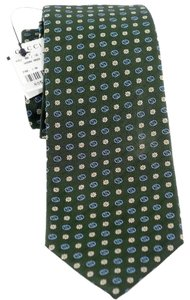 Gucci GUCCI 349394 Men's Gaisy Interlocking GG Woven 100% Silk Tie, Green