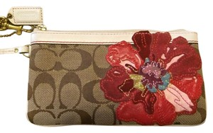 Coach Limited Edition Signature Wristlet in Khaki/Tan/Brown
