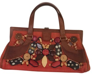 Oscar de la Renta Embroidered Summer Spring Luxurious Fency Satchel in Orange/brown