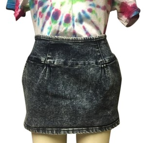 Forever 21 Grunge 1990s High Waist 21 Stretch Denim Mini Skirt Acid Wash