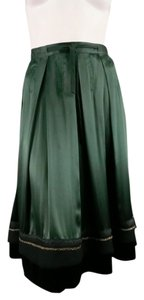 Chloé Full High Rise Fall Satin Skirt Forest Green