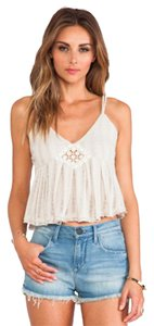 Free People Crop Embroidery Top Beige