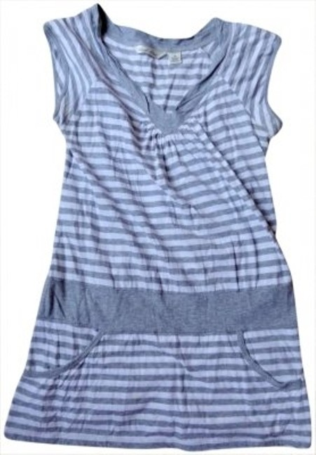 Derek Heart Striped Tunic T Shirt Gray / White