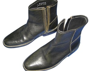 Cole Haan Leather Ankle Zipper Black Boots