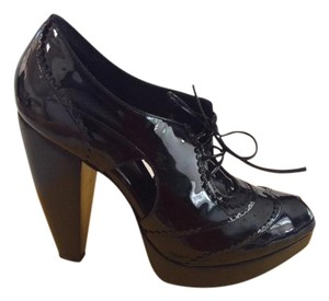 Fendi Patent Leather Wedge Platform Black Platforms