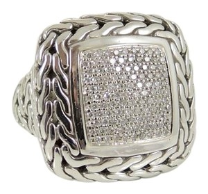 John Hardy John Hardy Sterling Silver 18K Gold 1.00tcw Large Classic Chain Pave Diamond Ring