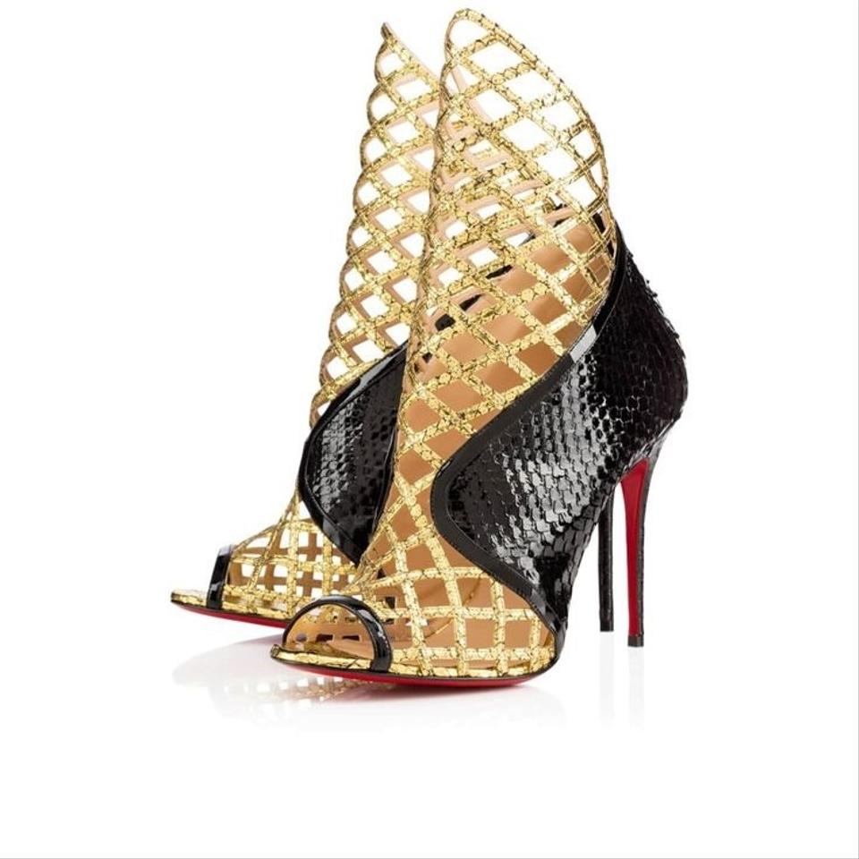 mens replica shoes - Christian Louboutin Bouglione 100 Python And Black & Gold Pumps on ...