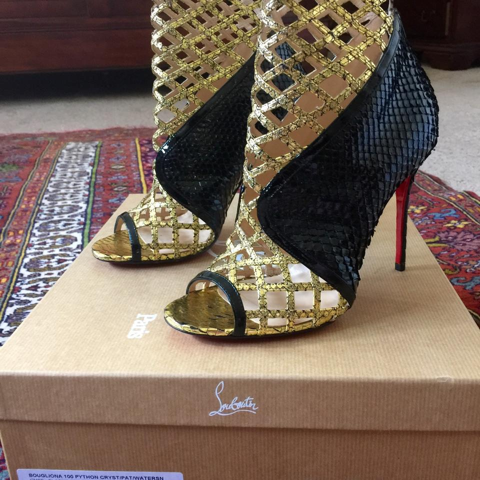 louboutin replica boots - Christian Louboutin Bouglione 100 Python And Black & Gold Pumps on ...