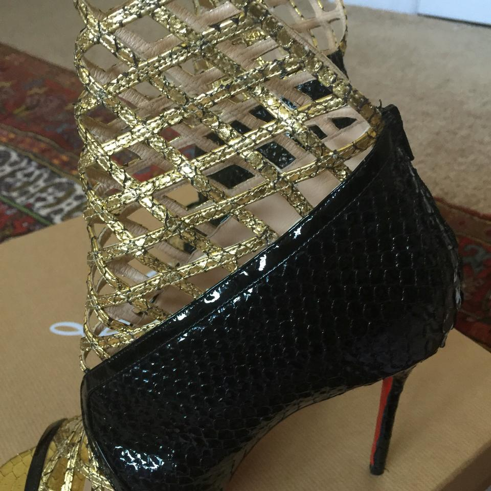louboutins sneakers - Christian Louboutin Bouglione 100 Python And Black & Gold Pumps on ...