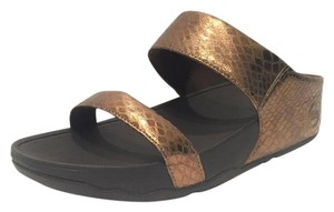 FitFlop Leather Snakeskin Bronze Sandals