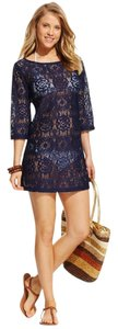 J Valdi J Valdi Women's Crochet Tunic Swimsuit Cover Up Navy M without tags