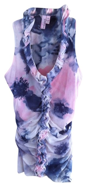 Sweet Pea by Stacy Frati Sheer Sleeveless Top Pink/Grey