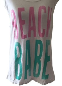 Lovers + Friends T Shirt White with Green and Pink letterihg