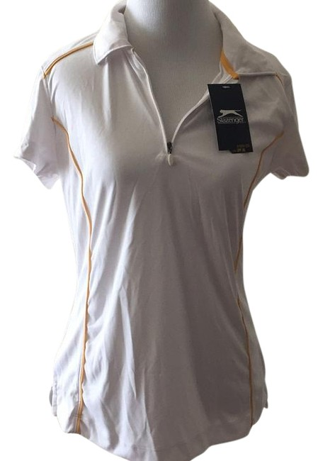 Item - White with Yellow Detail Harbour Point Wsg11051f Activewear Top Size 8 (M, 29, 30)