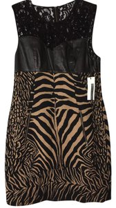 Tracy Reese Leather Shift Zebra Dress
