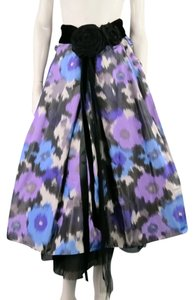 Marc Jacobs Floral Polka Dot Lace Skirt Blue & Purple