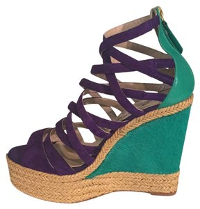 Brian Atwood Purple and green Platforms