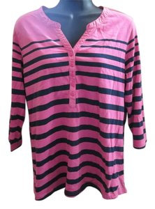 L.L.Bean Henley Striped Casual Nautical Summer Top Navy & Pink