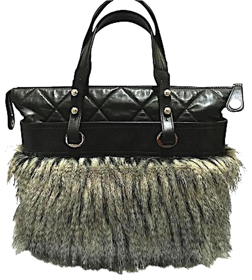 Chanel Leather Faux Fur Quilted Runway Tote In Black Multi Tonal Gray